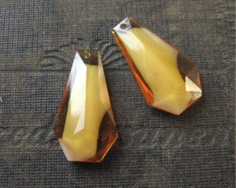 Honey Topaz Givre Faceted Coffin Pendant Drops Czech Glass 26mm New Chandelier Style (2)