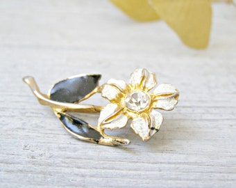Mid Century Black white enamel gold plated Flower Pin Brooch, Rhinestone Mod Jewelry, retro Mad Men Inspired, Wife Girlfriend Xmas gift