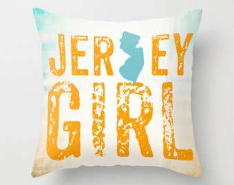 Jersey Girl State Outline Throw Pillow Nautical Decor Beach House Accessories