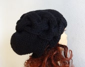 women slouchy - beanie hat - Slouch Beanie - Large hat - chunky hat - Chunky Knit Winter Fall Accessories  Knit Cable hat  -black
