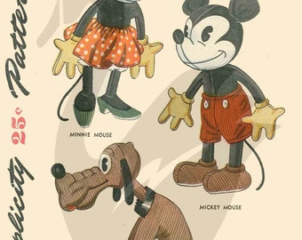 Mickey and Minnie Mouse and Pluto Doll Sewing Pattern - PDF