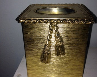 Gold tassel tissue box