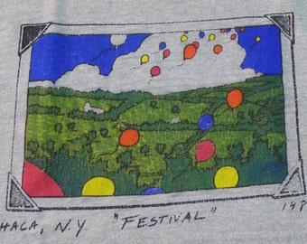 Vintage 80s 1984 Ithaca New York Festival Gray T-Shirt