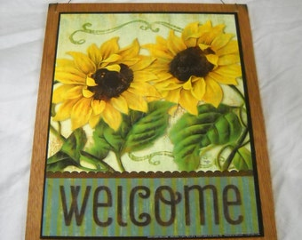 sunflower welcome country home kitchen farm wooden wall art sign fall decor
