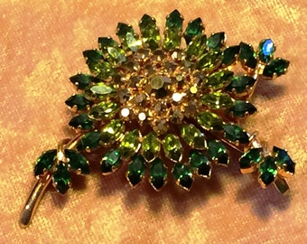 Austrian Green Rhinestone Large Brooch Dazzling Green & Gold Rhinestone Pin Large 1950's Rhinestone Brooch Vintage Jewelry Gift for Her