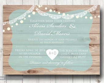 Rustic wood with lace and lights vintage themed Wedding invitation Digital printable customizable