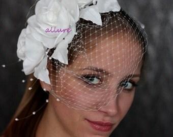 Couture Bridal hat, Bridal Fascinator, wedding veil. Fabulous BIRDCAGE VEIL , ivory wedding headpiece,  bridal hat. Amazing wedding flower