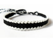 Black and White Macrame Friendship Bracelet - Glow in the Dark