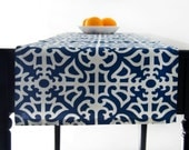 Blue Table Runner, Blue and White Table Runner in  50 inches long - Porcelain