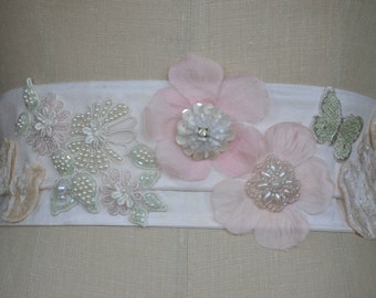 Pastel wide silk white bridal dress sash belt flowers leaves butterfly pale pink green blush accents embroidered
