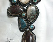 """Queen of Bisbee""""  created by Lynn Parpard One of a Kind Art Piece w Bisbee turquoise 22kt gold delicas & Swarovski Crystals"""