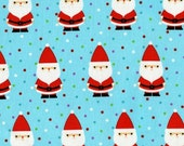 Michael Miller Christmas Fabric by the yard Candy Claus in Aqua 1 yard