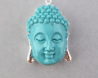 Turquoise Howlite Buddha Pendant with Silver Electroplated edge