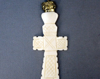 Tibetan Cross Pendant-- Carved Bone Cross Pendant with Engraved Brass Cap - Handmade in Nepal (S54-B10b)