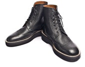 Black leather bespoke oxford brogues wingtip boots FREE WORLDWIDE SHIPPING