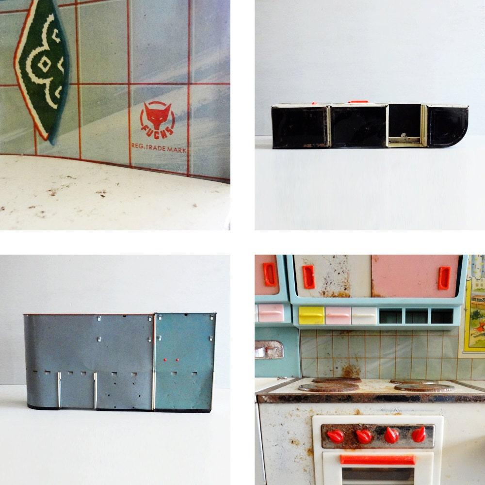 Vintage Toy Kitchen Set: Vintage Toy Kitchen Fuchs Tin Litho Toy Kitchen Midcentury