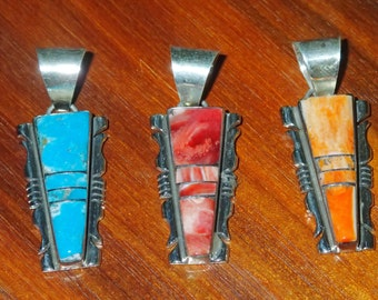 Inlay Pendant in Sterling. Turquoise, Spiney Oyster Orange, or Purple