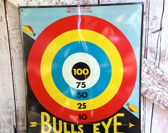 Tin board game vintage litho Bulls Eye and Play Ball metal game by Toy Enterprises of America Man cave