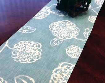 """INVENTORY CLEARANCE - 12X72"""" Table Runner - Blue Floral Table Runner Rose Pattern Table Runner Wedding Table Runners Select a Size"""