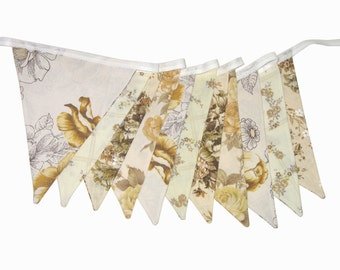 Vintage Bunting - Retro Cafe / Brown Chocolate and Mustard - Lace Floral Flag .  Shabby Chic Decoration.  HANDMADE .  Made in Australia