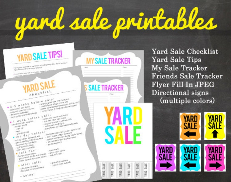 Printable Sign For Sale: Get Organized YARD SALE Printable Pack For Your By