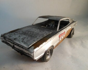 Scale Model Car Dodge Charger in Silver and Rust by Classicwrecks