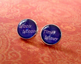 "20% OFF - "" Wibbly Wobbly Timey Wimey "" Doctor Who Tardis Blue Cabochon Stud Earring,Earring Post,Cute Gift Idea (Blue)"