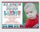 Train Invitation - Train Birthday Invitation - Printable Train Invitation, Blue and Red Train Invitation, Trains Party, Printable DIY