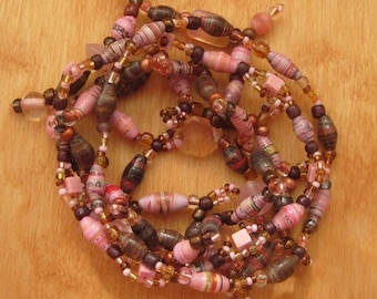Rose Pink, Maple Brown Paper Bead and Czech and Crystal Bead Bracelet