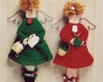 """PDF Pattern STITCHING ANGELS to Knit and Crochet - by Jao - Wall Decor """"Hobby Needlework"""" Knitting and Crocheting Angels. Great Gift"""