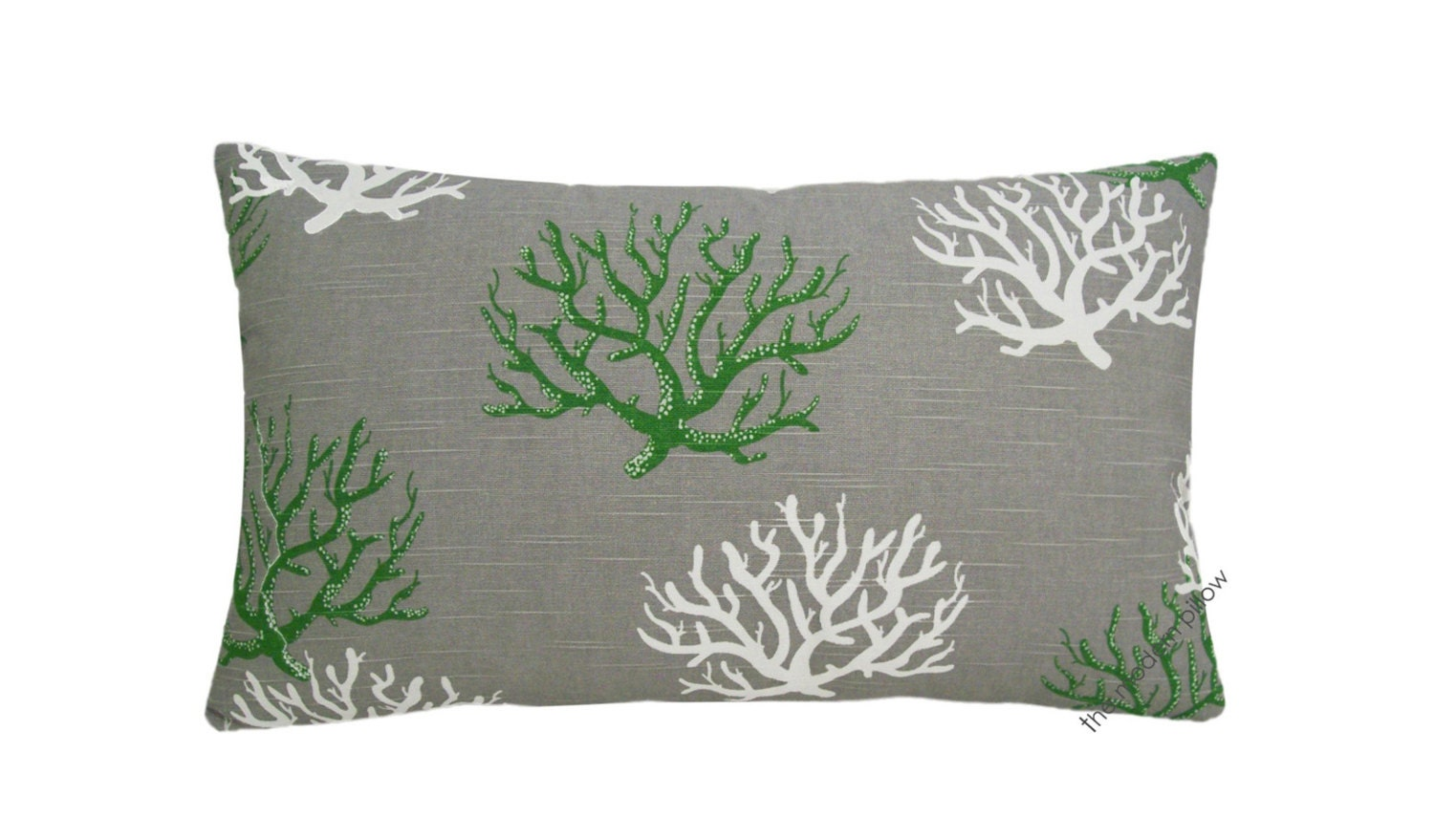 Gray / Green Coral Decorative Throw Pillow Cover / Pillow Case