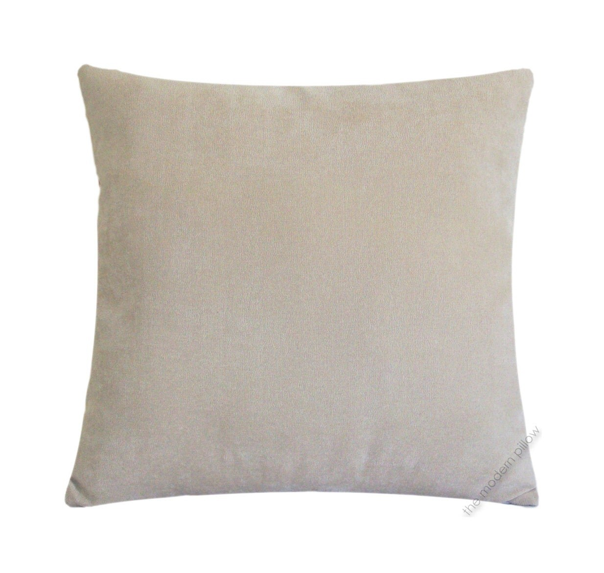 Beige Velvet Solid Decorative Throw Pillow Cover / Pillow Case