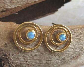 14k Solid gold studs , Opal gold stud earrings , Gold post  gemstone earrings , Handmade by Adi Yesod