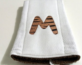 Tigeress Font Burp Cloth Baby Embroidery Cloth Terry Cloth 2 in 1