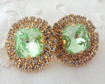 Mint earrings, Mint green crystal stud earrings,Mint bridesmaids earrings,Mint bridal arrings,large stud earrings, Swarovski, mint wedding
