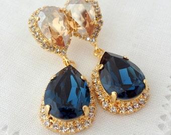 Navy blue Champagne earrings,Chandelier earrings,Navy blue champagne Bridal earrings,blue bridesmid gift,Dangle Drop earrings,blue wedding
