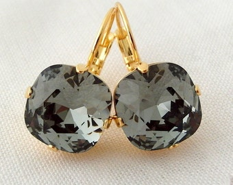 Black diamond smokey gray Swarovski crystal drop earrings, drop earrings, Bridesmaids gift, Bridal earrings,Dangle earrings, Gold plate
