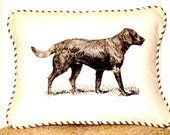 """shabby chic, feed sack, french country, black lab graphic with ticking stripe  welting 12"""" x 16"""" pillow sham."""