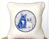 "shabby chic, feed sack, french country, delft French bulldog graphic with french ticking  welting 14"" x 14"" pillow sham."