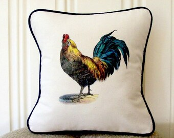 "shabby chic, feed sack, french country, rooster with navy welting 14"" x 14"" pillow sham."