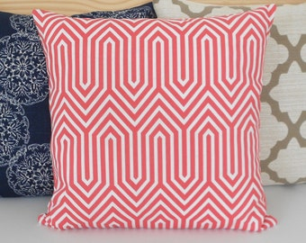SALE Pink coral geometric decorative pillow cover