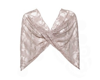 Plus Size Taupe Lace Infinity Shawl. 4 Ways Shawl You Can Wear Crisscrossed, As A Shrug, Scarf Or Shoulders Coverup. Cocktail Party Shawl