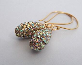 Pave Earrings, Teardrop Dangle Earrings , Wedding Jewelry, Gold Rhinestone Drop Earrings, SilverManiaStudio Jewelry