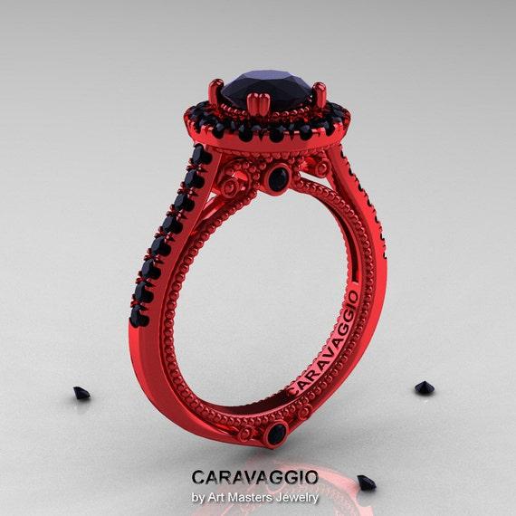 Items similar to Caravaggio 14K Red Gold 1 0 Ct Black Diamond Engagement Ring