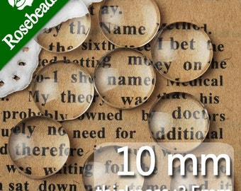 200PCS 10MM Round Flat Back clear Crystal glass Cabochon,Top quality-C1053