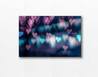 abstract canvas art abstract photography bokeh hearts photography canvas print 12x18 24x36 fine art photography large canvas wrap blue pink