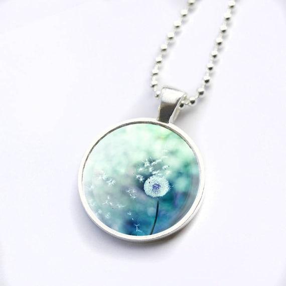 dandelion necklace glass tile pendant photo dome by
