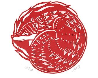 Sleeping Fox Original Linocut Print