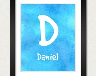 Personalized Name Poster - Alphabet Nursery Print - Choose Font & Color - Childrens Room / Baby Gift Boy / Girl - Blue or Purple Watercolor
