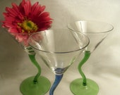 Sale- Three Pc. SET Vintage NEVER USED Handblown Tall Martini Cocktail Glasses w/ Wavy Stems- Birthday Gift Him Her Girlfriend Boyfriend Mom